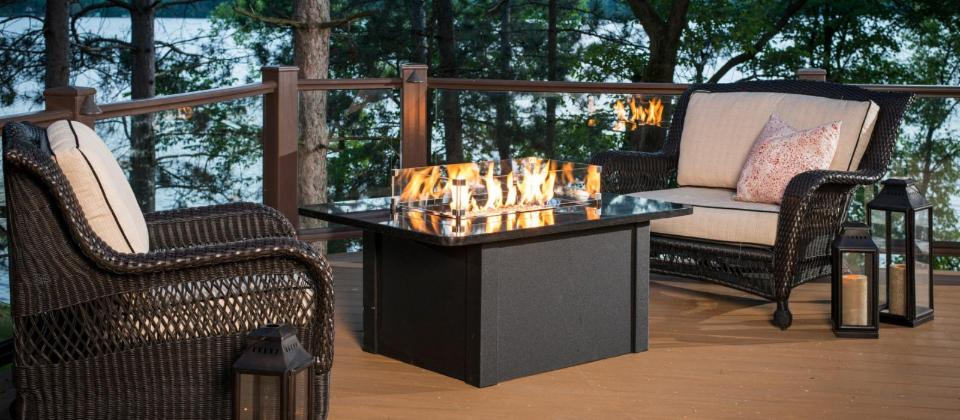 Wicker Patio Fire Pit Sets for Fall