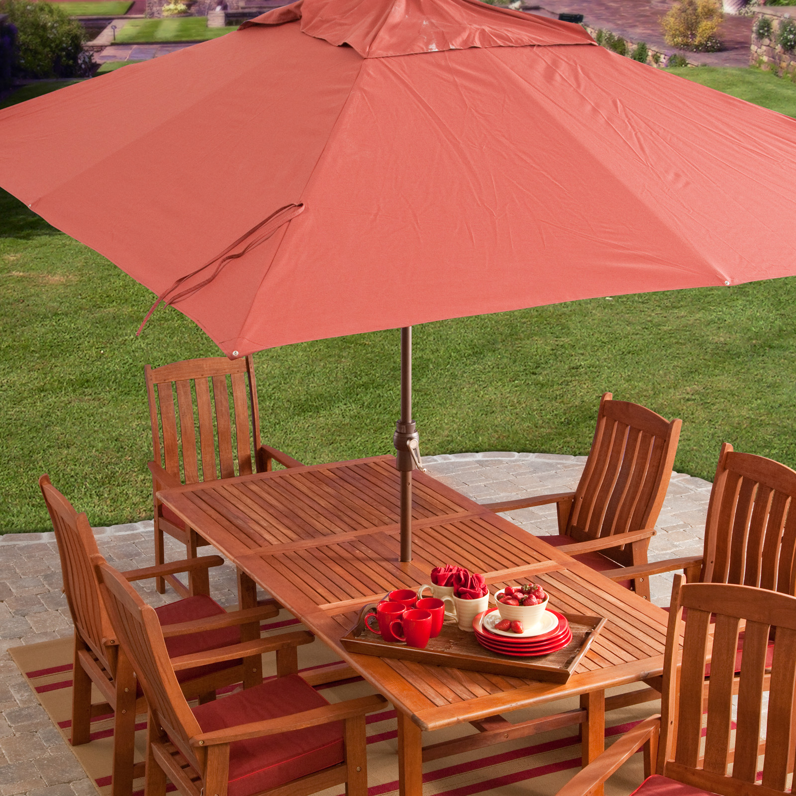 Superb Aluminum Spun Poly Rectangle Patio Umbrella | Hayneedle