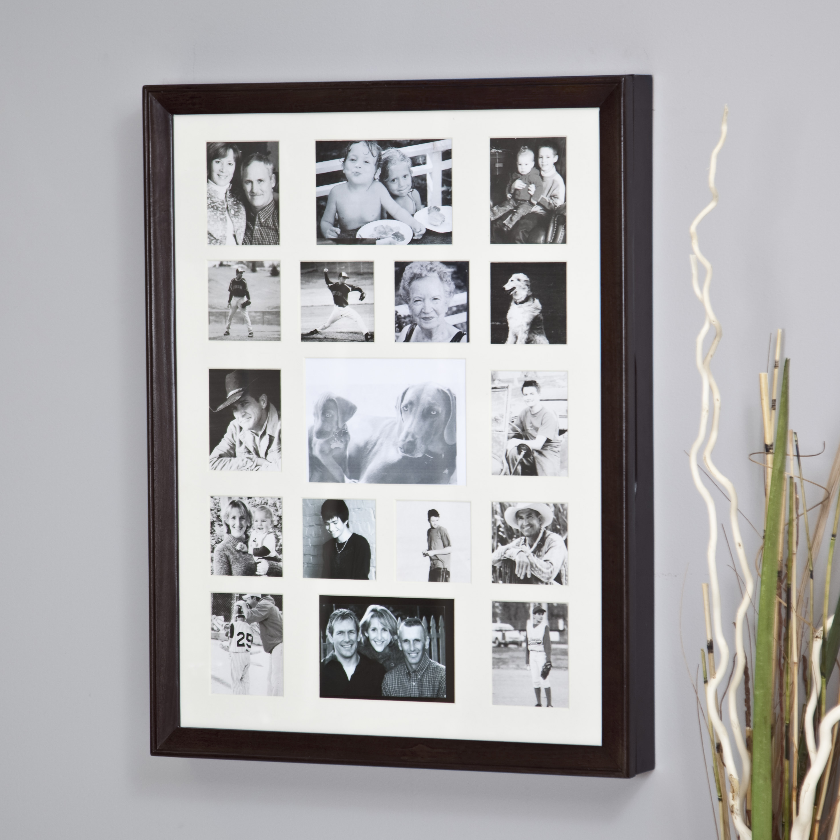 Collage Photo Frame Wooden Wall Locking Jewelry Armoire - 23W x 30H ...