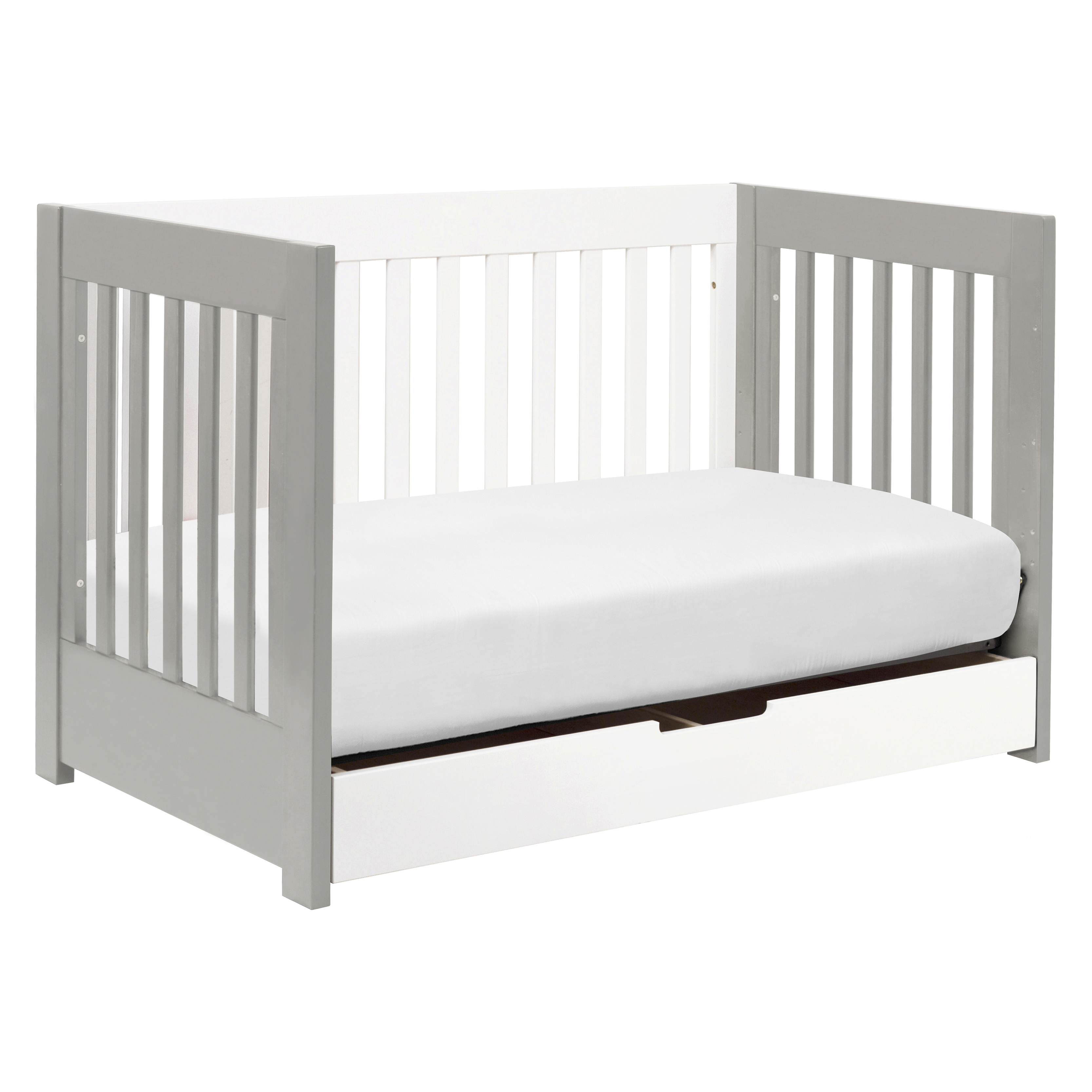 in rail convertible raw hudson babyletto with toddler crib