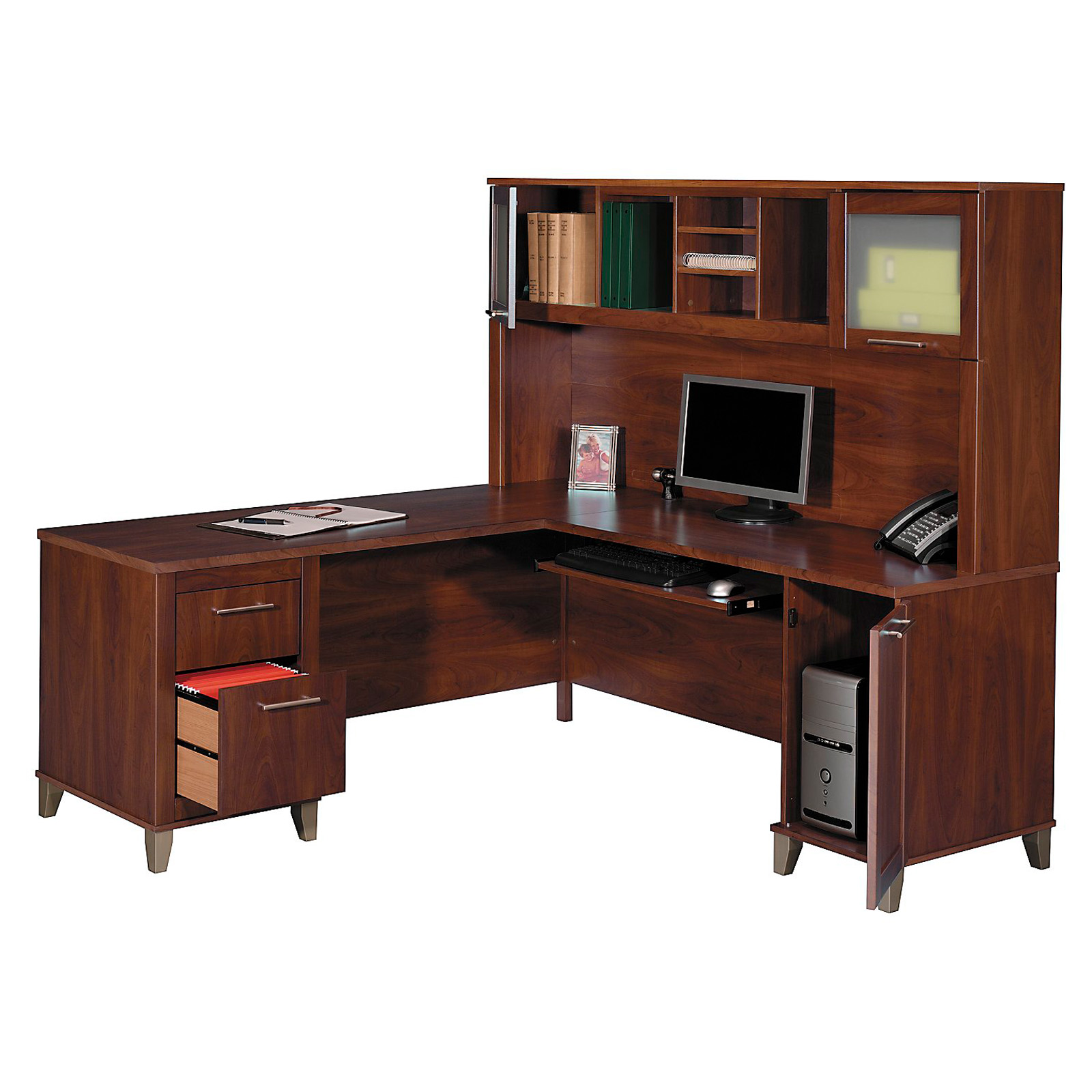 door magnetizing main hutch black of furniture idea desk racks also l computer shaped drawers the and as wooden brown room alluring with study dark