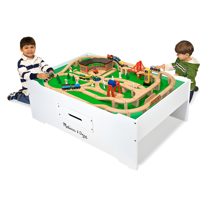 Melissa and Doug Train Table with Optional Railway Set | Hayneedle