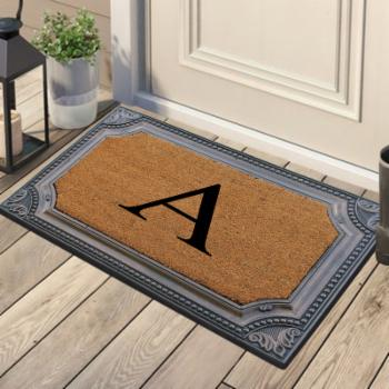 A1 Home Collections First Impression Angela Floral Border Rubber and Coir Outdoor Monogrammed Doormat