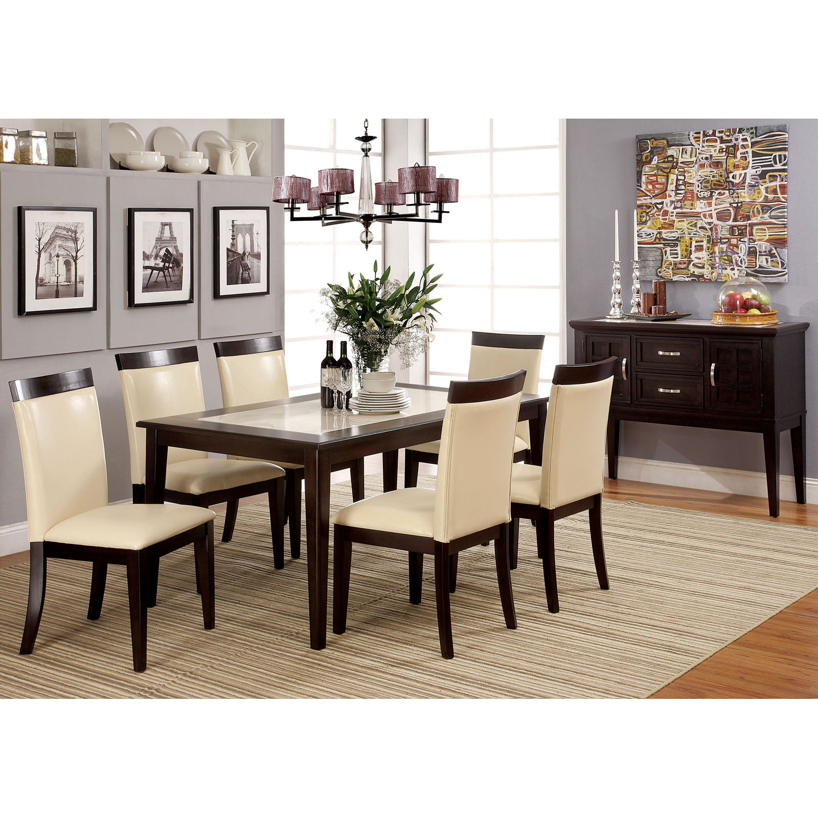 Beau Furniture Of America Lotties 7 Piece Faux Marble Dining Table Set |  Hayneedle