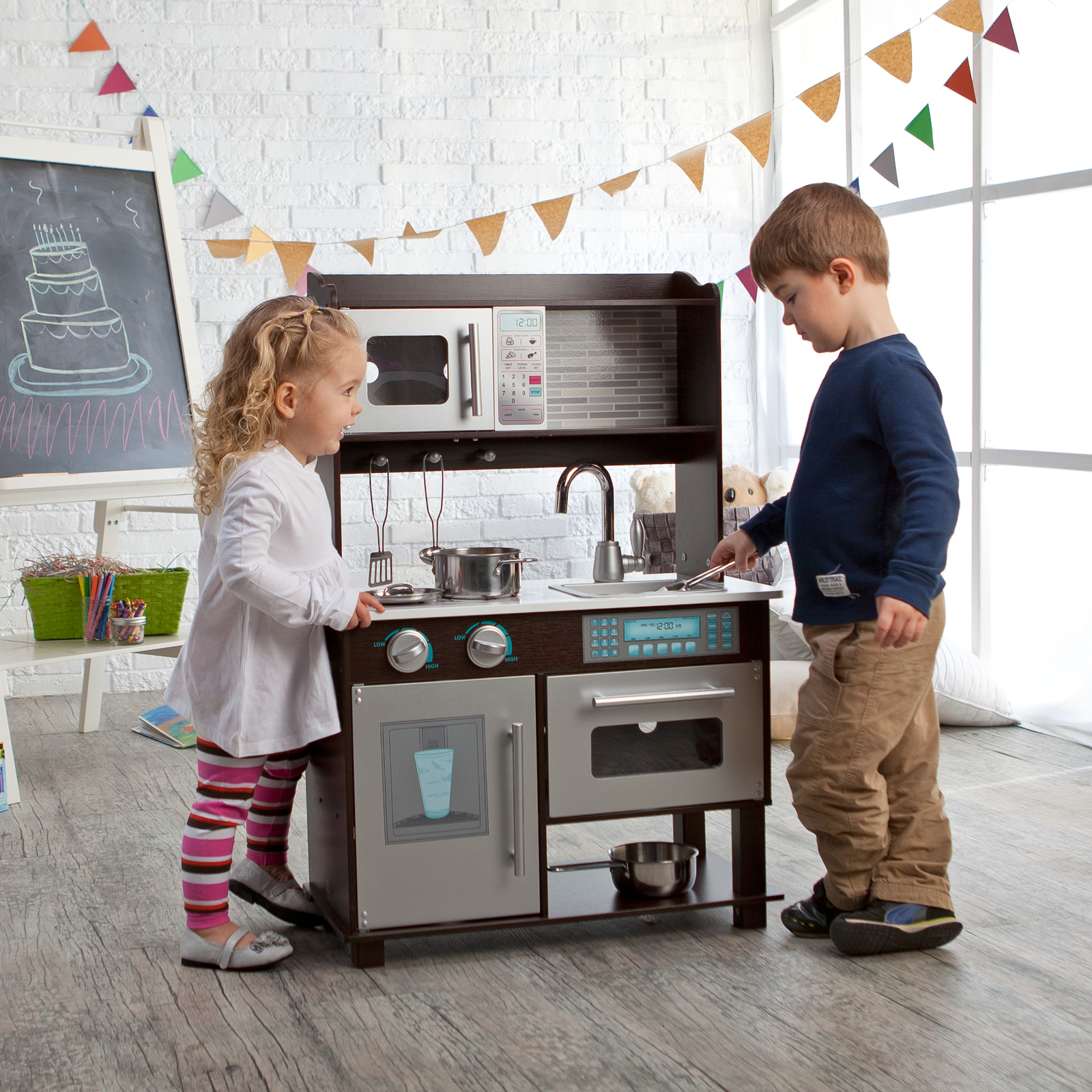 Kidkraft Espresso Toddler Play Kitchen With Metal Accessory Set 53281 Hayneedle