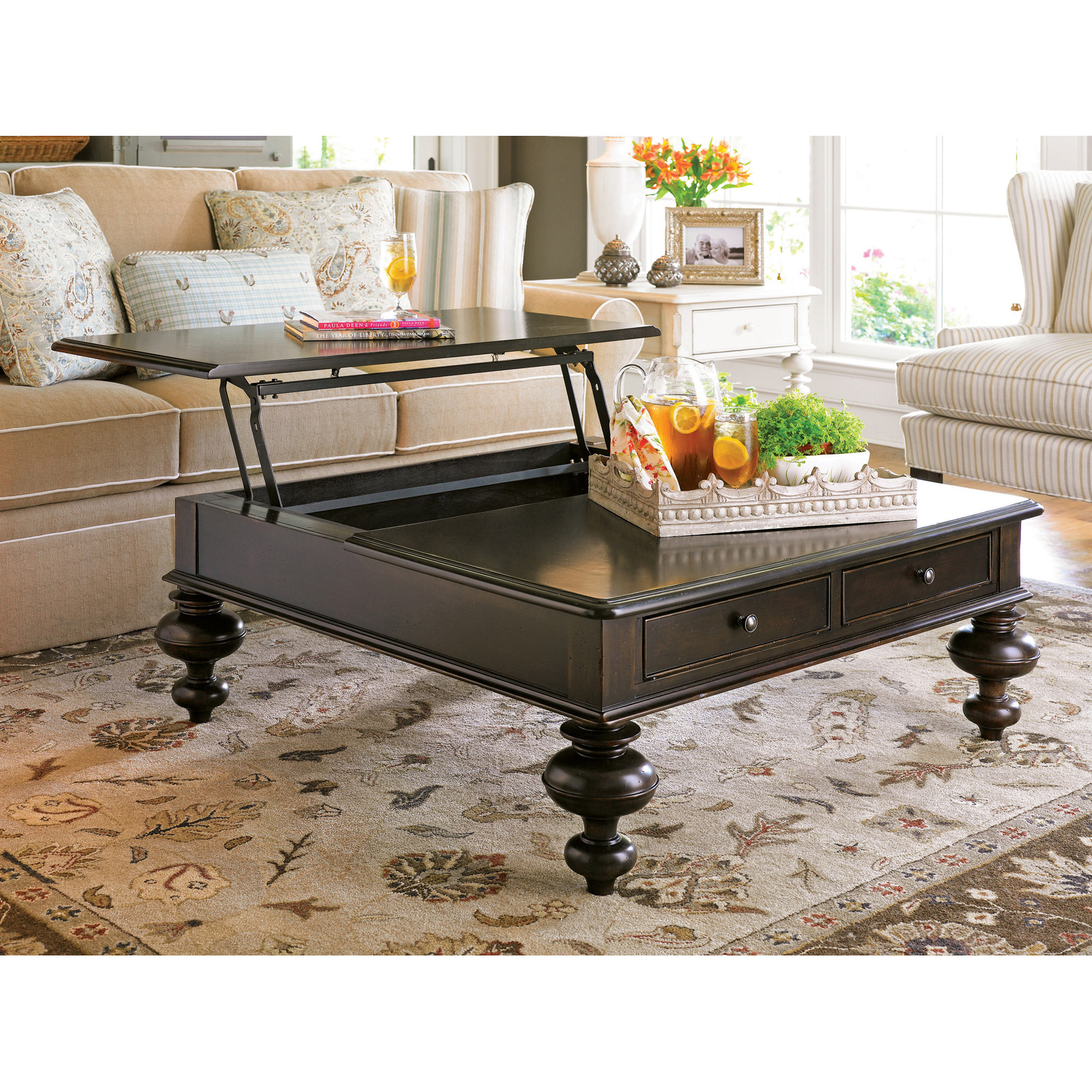 Paula Deen Home Put Your Feet Up Square Wood Lift Top Coffee Table Hayneedle