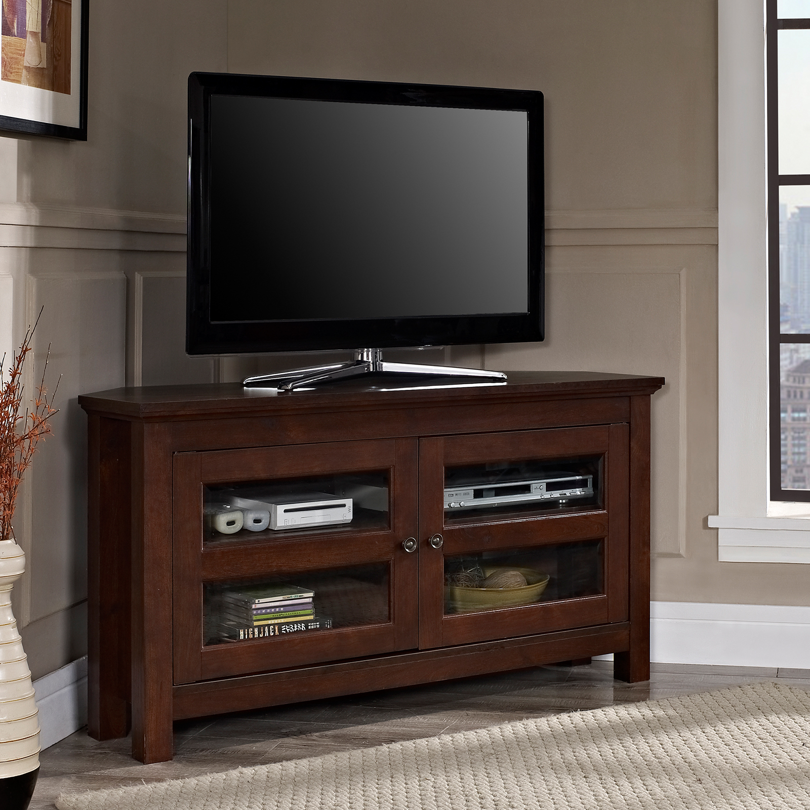 Delicieux Wood Corner TV Media Stand Storage Console | Hayneedle