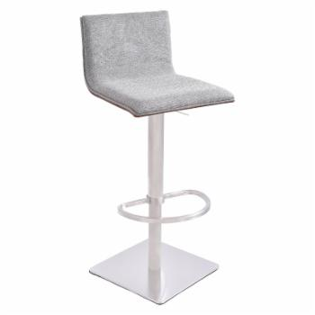 Armen Living Crystal Adjustable Swivel Bar Stool with Fabric Seat