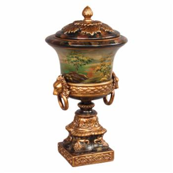 AA Importing Hand Painted Urn with Lid