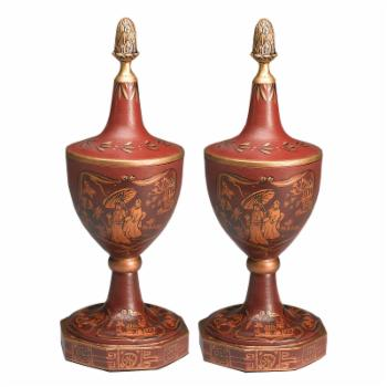 AA Importing Chinoiserie Design Urn - Set of 2