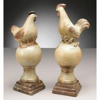 AA Importing Rooster and Chicken on Pedestals Sculpture - Set of 2