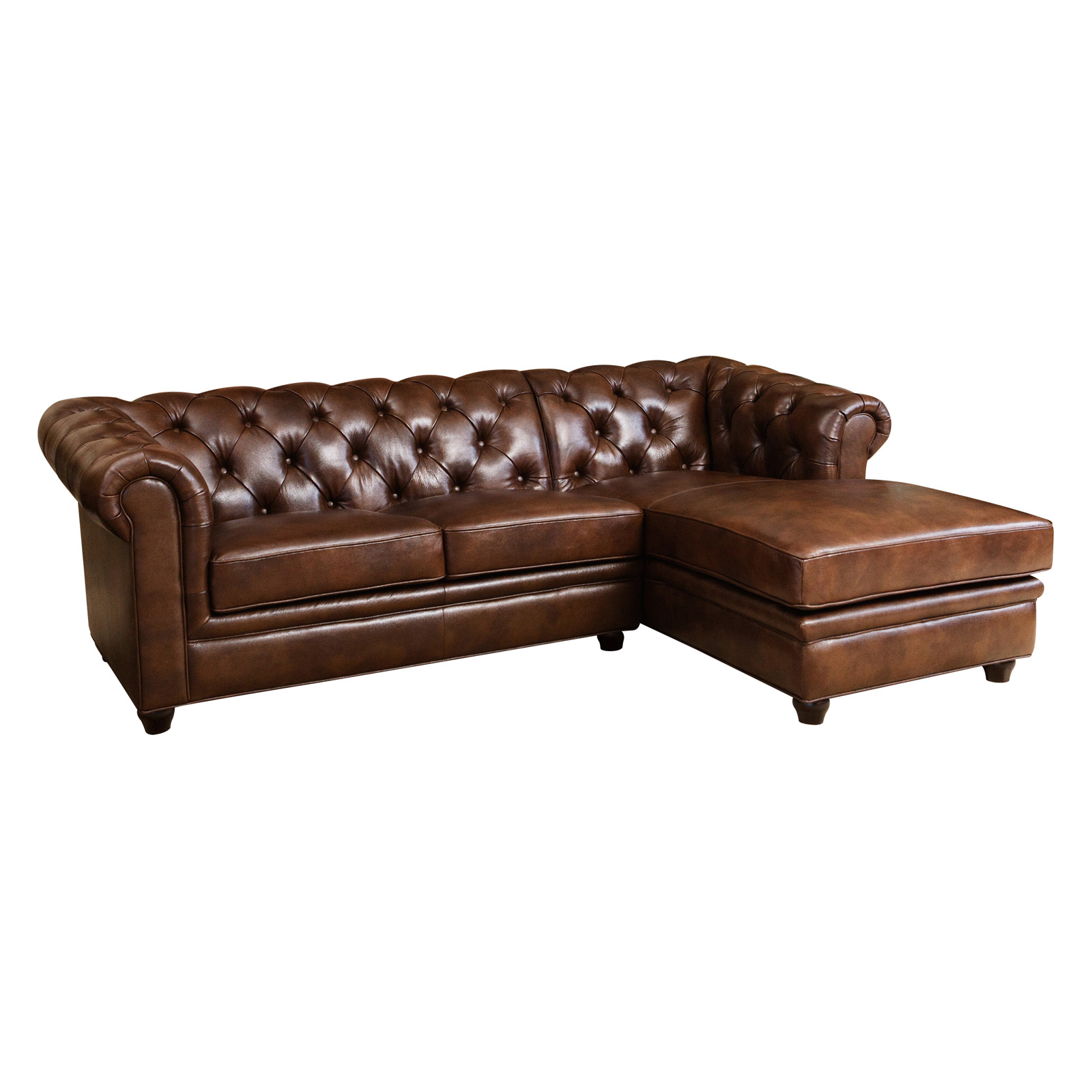 Abbyson Tuscan Top Grain Leather Chaise Sectional