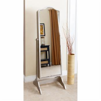 Abbyson Shirley Mirror and Jewelry Armoire - Silver