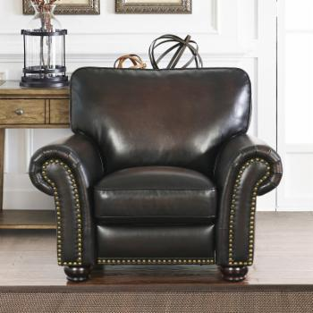 Abbyson Mac Hand Rubbed Leather Push Back Recliner