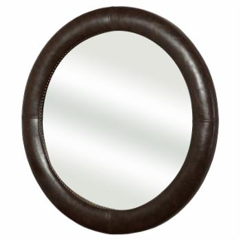 Abbyson Chandler Leather Wall Mirror - 40W x 40H in.