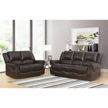 Abbyson Living Toya 2-Piece Faux Leather Reclining Sofa and Loveseat