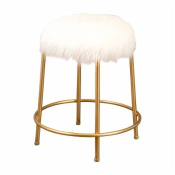 Abbyson Living Alice Gold and Faux Fur Stool