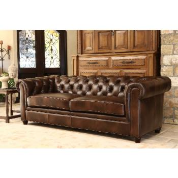 Jameson Premium Italian Leather Sofa - Two Tone Chestnut Brown