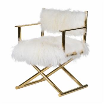 A & B Home Mongolian Fur Directors Chair