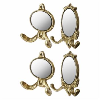 A & B Home Gold Wall Hooks with Mirror Insert - Set of 4