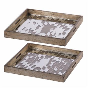A & B Home Idony Vintage Mirrored Trays - Set of 2