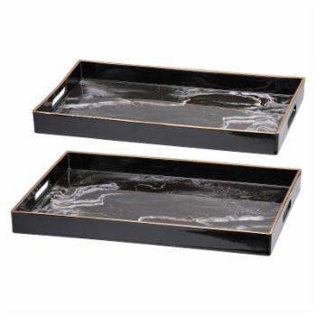 A & B Home Effra Rectangular Serving Trays - Set of 2