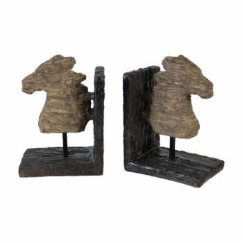 A & B Home Wooden Horse Head Bookends