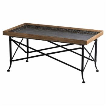 A & B Home Classic Vintage Wood and Metal Coffee Table