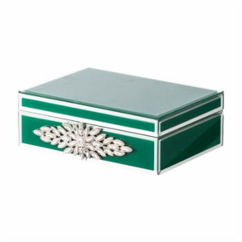 A & B Home Glass Jewelry Box - 9.5W x 7D x 3H in.