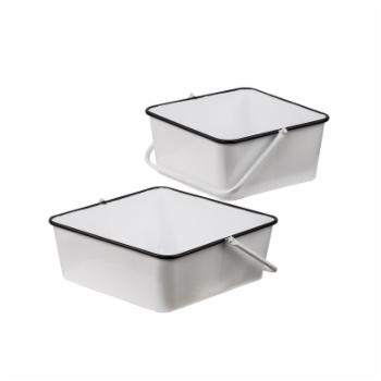 A & B Home Classic Vintage White Square Metal Basket Planter - Set of 2
