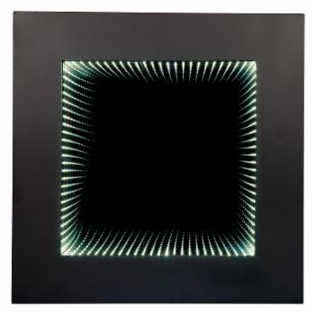 Wooden Square Wall Mirror with LED Infinity Lights