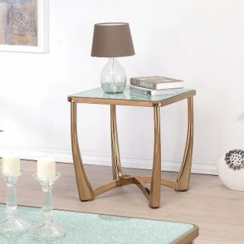 Acme Furniture Orlando Champagne and Crackle Mirror End Table