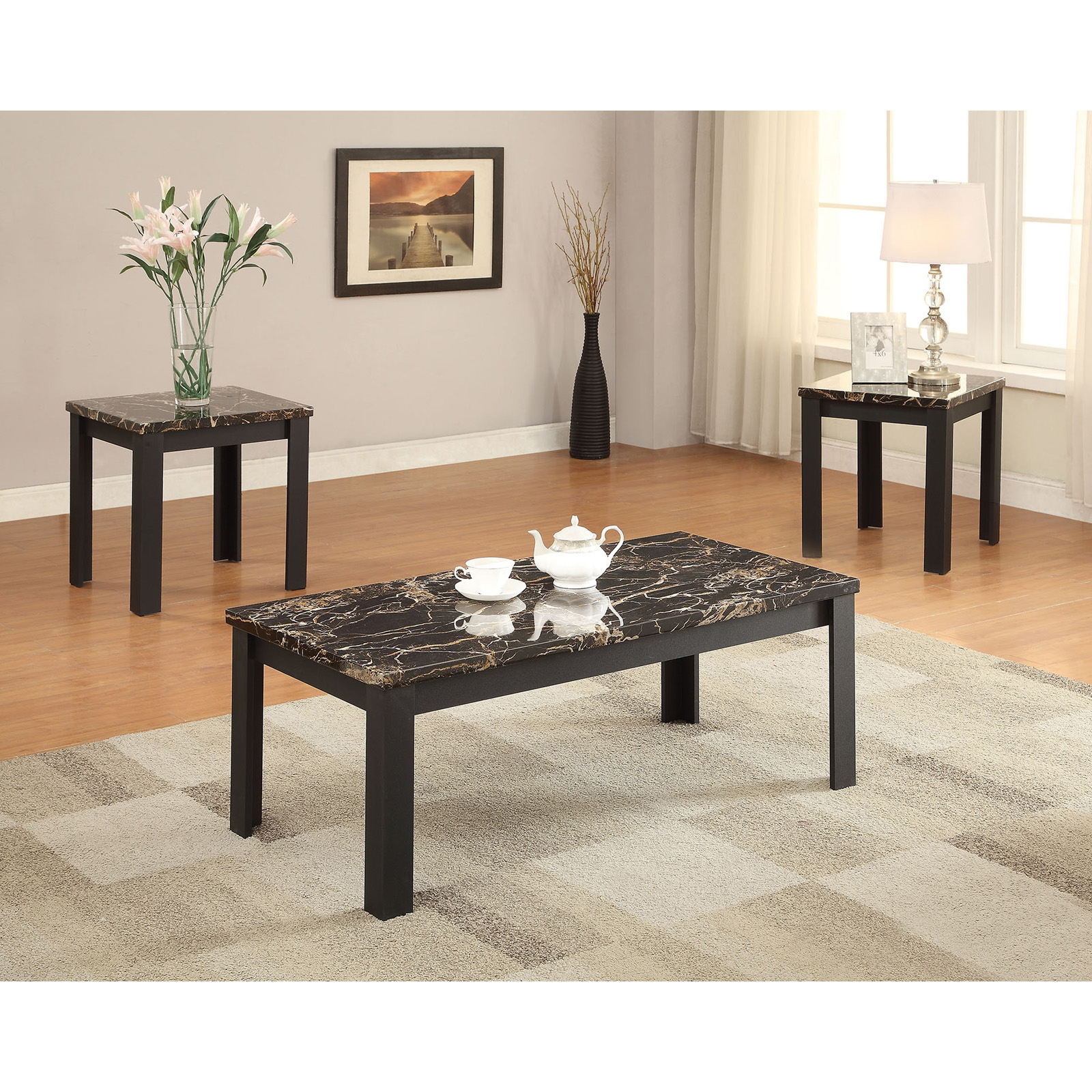 Acme Furniture Carly Faux Marble and Black 3 Piece Coffee and End Table Set  sc 1 st  Hayneedle & Marble Top Coffee Table Sets | Hayneedle