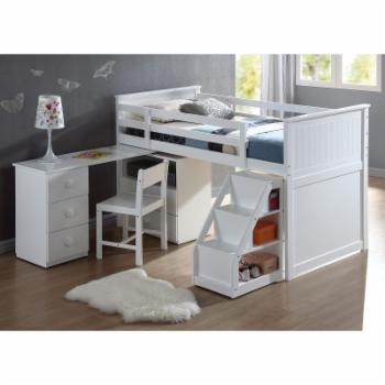 Acme Furniture Wyatt White Loft Bed With Chest and Desk