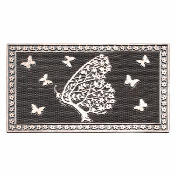 A1 Home Collections Shedding Tree With Butterflies Rubber Hand Finished Non-Slip Heavy Duty Door Mat