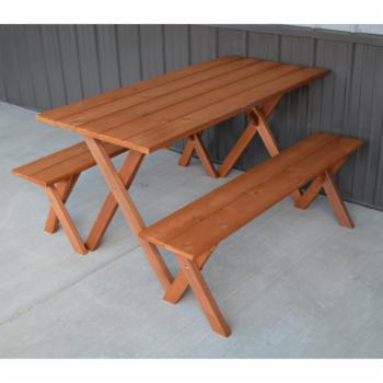 A & L Furniture Cedar 5 ft. Economy Picnic Table with 2 Benches