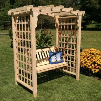A & L Furniture Cambridge 7.3 ft. High Wood Arbor with Swing