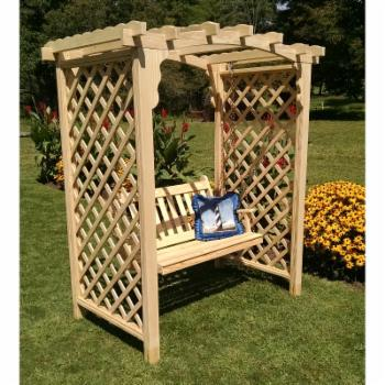 A & L Furniture Jamesport 7.3 ft. High Wood Arbor with Swing