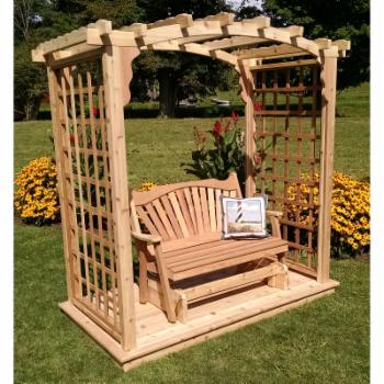 A & L Furniture Cambridge 7.5 ft. High Cedar Arbor with Deck and Glider