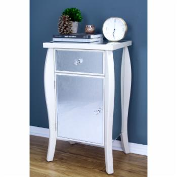 Heather Ann Creations Amelia Collection 1 Drawer 1 Door Mirrored Accent Cabinet End Table
