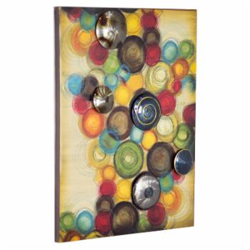 Heather Ann Creations Cirque Collection Large Vertical Wall Panel Decor with 3D Metal Circles