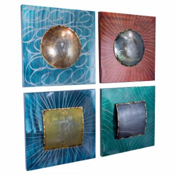Heather Ann Creations Metro Collection Layered Metallic Shapes on Square Panels Wall Decor - Set of 4