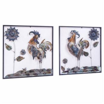Heather Ann Creations Midnight Garden Collection Roosters and Sunflowers Square Wall Panel Decor - Set of 2