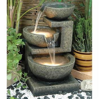 Alfresco Home Rocca Outdoor Fountain with Pump and Light