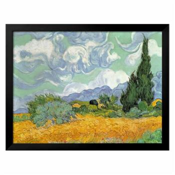 Wheatfield with Cypresses 1889 Framed Giclee Wall Art by Vincent van Gogh