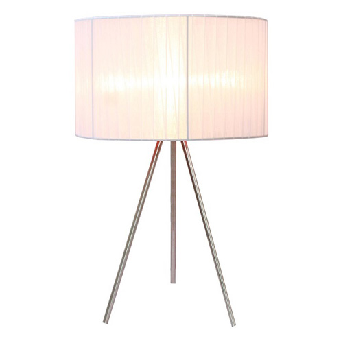Simple Designs Silk Band Tripod Table Lamp   20H In.   White Shade