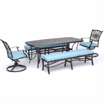 Hanover Traditions Aluminum 5 Piece Patio Dining Set