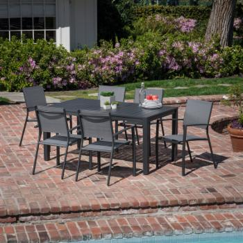Hanover Naples Aluminum 7 Piece Outdoor Dining Set