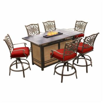 Hanover Traditions Aluminum 7 Piece Counter Height Fire Pit Dining Set