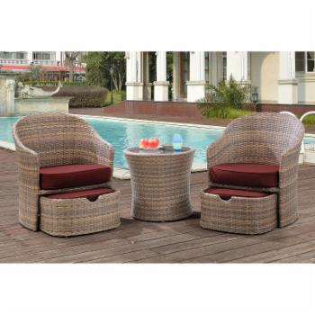 Hanover Seneca 5 Piece Wicker Patio Chat Set